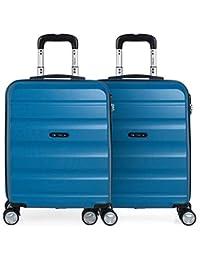 ITACA - Pack 2 Maletas de Viaje Rígidas 4 Ruedas 55x40x20 cm Cabina Trolley ABS. Equipaje de Mano. Resistentes y Ligeras. Mango…