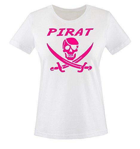 Monster Pink Hunde Kostüm - PIRAT KOSTÜM -Damen T-Shirt Weiss / Pink Gr. S