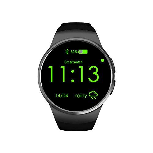 Preisvergleich Produktbild Bluetooth Smart Watch Herzfrequenz Monitor Fitness Tracker Smart Sport Watch unterstützt SIM und TF-Karte Handgelenk Smart Gesundheit Uhr für Smartphones, schwarz