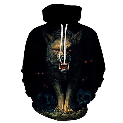 LLPOKM Hoody Männer/Frauen Mit Kapuze Hoodies Moon Print Doppel Wolf Cool Thin 3D Sweatshirts Trainingsanzüge Tops LMWY-379 XS