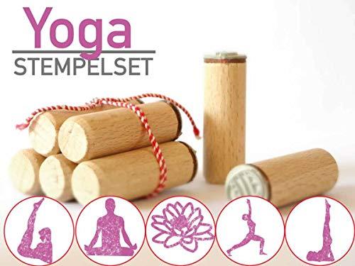 13gramm Yoga Stempelset Geschenk, 5-teilig aus Buchen-Holz