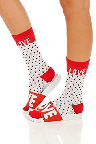 The White Brand  The White Brand, Chaussons Mules femme LOVE-Socks