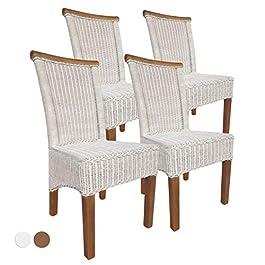 casamia Perth Lot de 4 chaises de salle à manger en rotin Blanc Coussin d'assise en lin Sans coussin