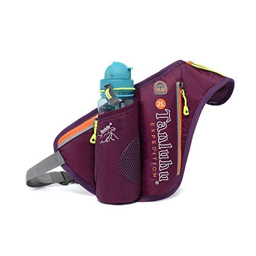 Ibssports Hüfttasche Multi-Funktion Gürteltasche Wasserabweisende Bauchtasche Flache Taille Tasche mit Flaschenhalter und Telefon Earp lüg Draht Loch zum Sport und Reisen Violett