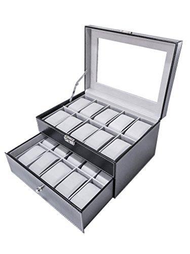 SodyneeÃÂ'Ã' Black Pu Leather 20 Grid Jewelry Watch Display Organizer Gloss Top Box Case Large by Sodynee