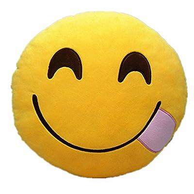 LI&HI 32cm Emoji Smiley Emoticon Yellow Round Cushion Pillow Stuffed Plush Soft Toy - cheap UK light shop.