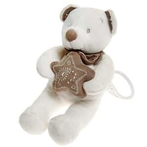 Simba Toys / Nicotoy - 236721 - Peluche musicale Ours avec doudou étoile - Pantin écharpe - Blanc et taupe - 25 cm