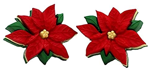 Bluebubble MERRY CHRISTMAS Red Poinsettia Stud Earrings With FREE Gift Box