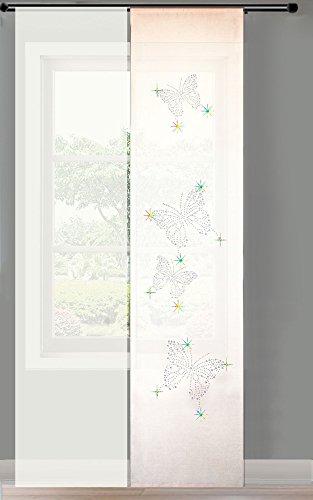 Gardinenbox 2er Set Schiebegardine Flächenvorhang Strass Blickdicht und Voile Paneel transparent, 245x60, Weiß Butterfly, 856250