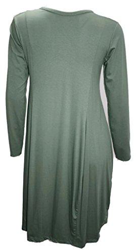 Basic # 4222robe en jersey Skater robe Casual Viscose 384042Onesize Noir - Kaki