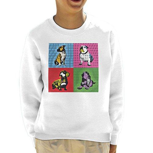 Great British Pub Dogs Andy Warhol Bulldog Dachshund Staffie Basset Hound Kid's Sweatshirt (Sweatshirt Hound Kinder)