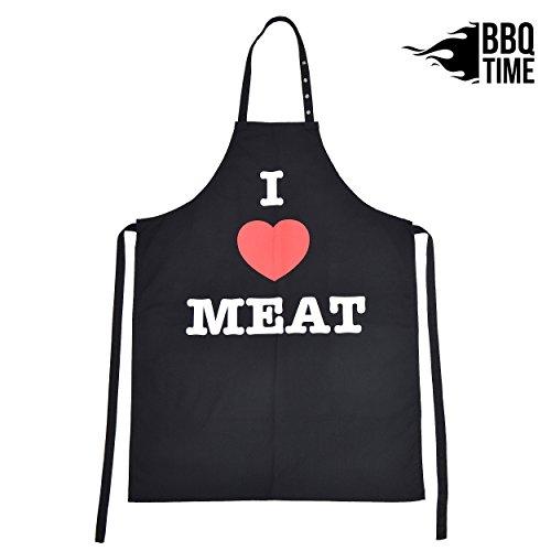 BBQ TIME Grillschürze, Schürze für Männer und Frauen, extra Lange Kochschürze mit verstellbarem Nackenband, Küchenschürze zum Grillen in vielen schönen Designs erhältlich -