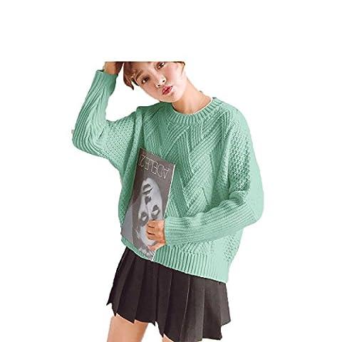 CHLXI Damenbekleidung Stricken Lange Ärmel Dicke Linien Locker Pullover Verdickung,Green-OneSize