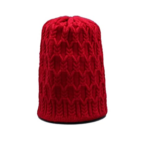 Automne Et Hiver Unisex Knitting Warm Beanie Hat Slouch Stretch Outdoor Wind Proof Cap Taille Unique,Red-OneSize