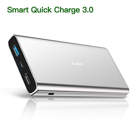 EMNT Tragbares Ladegerät, 10400mAh Externer Akku, hohe Kapazität 2-Port Output Power Bank Ladegerät mit Schnellladung 3.0 Technologie für iPhone X 8 8Plus 7 6s 6Plus, iPad, Samsung Galaxy(Silber)