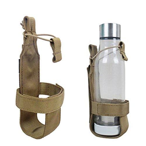 Nylon Tactical MOLLE Wasser Flasche Halter für Rucksack Camping Outdoor Gürtel Flaschenträger, khaki