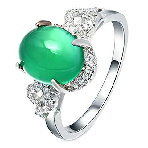 Epinki 925 Sterling Silver Women Wedding Ring Crystal Sided Oval
