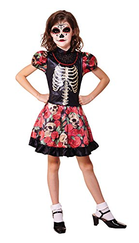 Day of the Dead Girl - Halloween-Kostüm - Kinder Kostüm - Medium - 122 bis (Dead Ideen Kostüm Girl)
