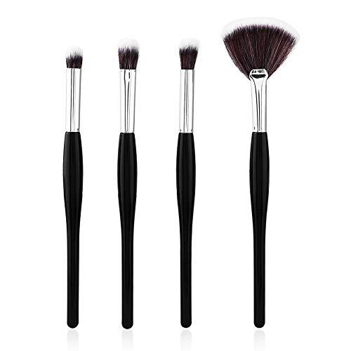 Jeu de pinceaux de maquillage, Kit de pinceaux de maquillage argent noir Ensemble de fond de teint poudre correcteur d'ombres à paupières(4PCS)