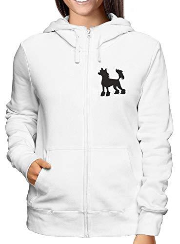 T-Shirtshock Sweatshirt Damen Hoodie Zip Weiss WES0577 Chinese Crested Hairless Dog Silhouette Chinese Crested Dog Sweatshirt
