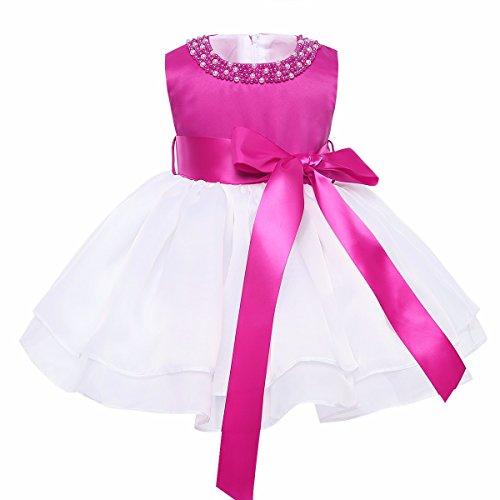 Rose Mädchen Weiße Kostüm - YiZYiF Baby Mädchen Kleid Taufkleid Festlich Kleid Hochzeit Partykleider Kleinkind Kinder Kleidung Organza Festzug für 3 Monate - 3 Jahre Weiß & Rose 80-86