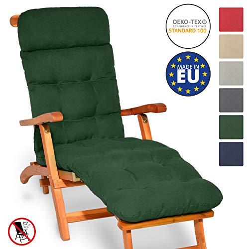 Beautissu Auflage für Deckchair Flair DC 200x50x8cm Liege-Stuhl Polster-Auflage mit Schaumflockenfüllung Dunkelgrün