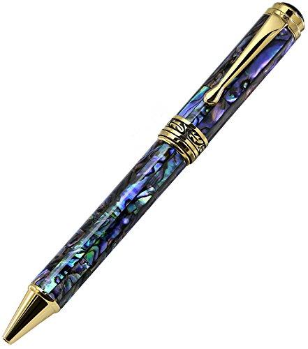 """Preisvergleich Produktbild Xezo Neuseeland Paua Abalone-Kugelschreiber, """"18 Karat vergoldet. Stift Durchmesser 12 mm,  Länge 145 mm,  Gewicht 46 g / 1, 6 Oz (Maestro Seashell B)"""