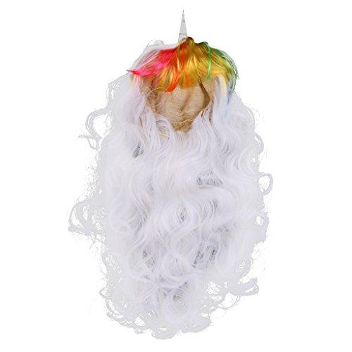 MagiDeal Damen Langhaar Perücke, lang, gelockt, Cosplay-Perücke, Party-Perücke, Einhorn Kostüm, Für Halloween Party - Weiß