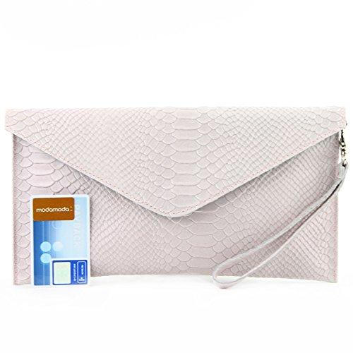 modamoda de - ital. Ledertasche Clutch Unterarmtasche Abendtasche Damentasche Handgelenktasche Leder Schlangenoptik T106S Rosa