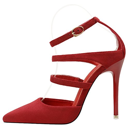 Oasap Women's Pointed Toe Hollow out Stiletto Heels Pumps Burgundy