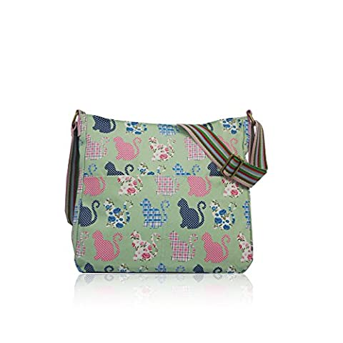 Cute Kitty Cat Patterned Canvas Crossbody Messenger Bag (Green)