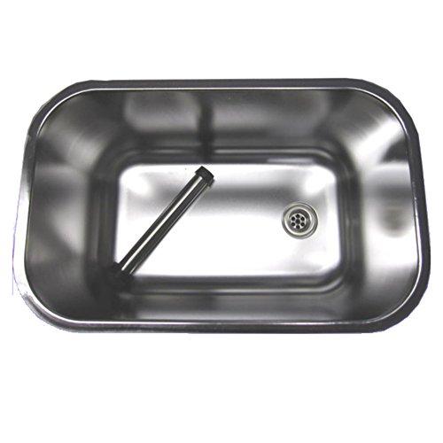 Gastro Spülbecken aus Edelstahl 50x30x30cm mit Ablaufventil & Standrohr -