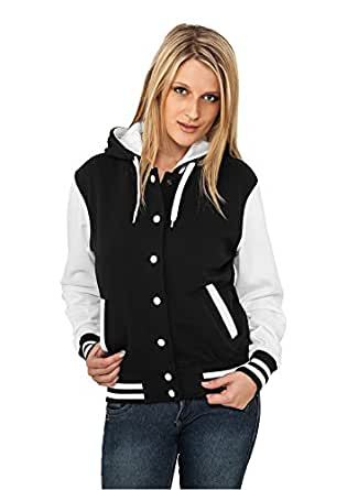 Urban Classics TB389 Ladies Hooded College Sweat Jacket Woman Regular Fit con L Black White White L