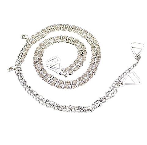 Bling Bling Diamante Bra Straps Crystal diamante & Metal Bar Single Row Design - One Pair
