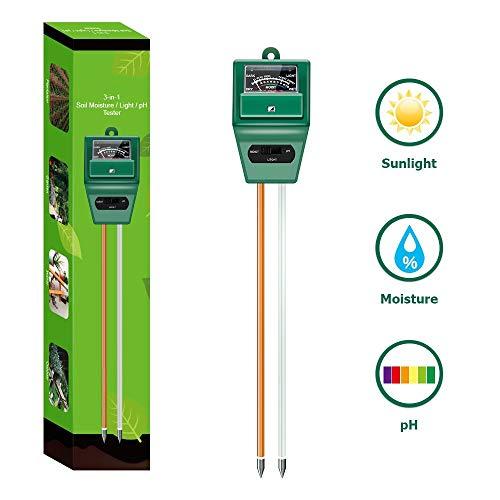 Boden-pH-Messgerät, 3-in-1-Boden-Test-Set für Feuchtigkeit, Licht und pH-Wert für Haus und Garten, Rasen, Bauernhof, Pflanzen, Kräuter und Gartenwerkzeuge, für Innen- und Außenpflanzen