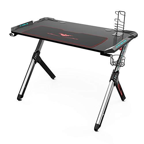Eureka Ergonomic R1-S Gaming Desk - Gaming Computer Desk, Gaming Table PC Gamers Schreibtisch mit RGB-Licht, Kohlefaser-Textur-Desktop, Getränkehalter und Kopfhörerhaken, MEHRWEG