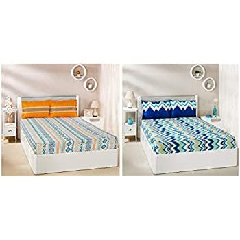 Amazon Brand - Solimo Abstract Waves 144 TC 100% Cotton Double Bedsheet with 2 Pillow Covers, Green + Fuzzy Strings 144 TC 100% Cotton Double Bedsheet with 2 Pillow Covers, Orange Combo
