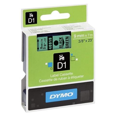 Dymo D1 Étiquettes Standard 9 mm x 7 m - Noir sur Vert