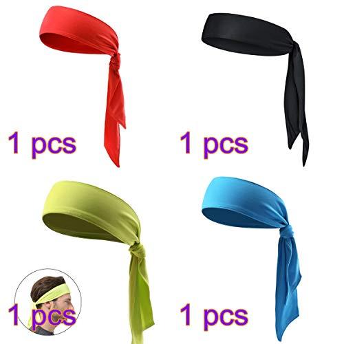 Beaupretty 4 stücke Kopf Krawatte Sport Stirnband Krawatte Stirnband für Laufen Workout Tennis Karate Leichtathletik Piraten Kostüme (Rot + Schwarz + Gelb + Blau)