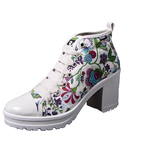 Break & glasdeals Hippie Sneaker schulbuchhandlung con tacco alto plateau suola motivo floreale B&W scarpe, Multicolore (multicolore), 37
