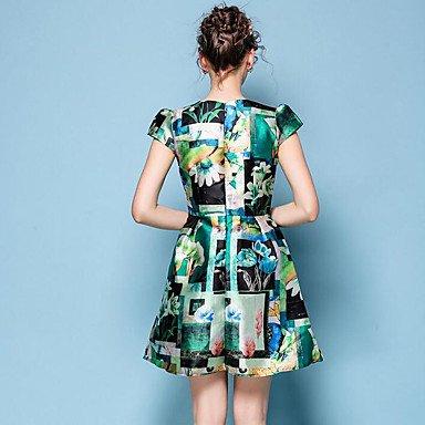 PU&PU Robe Aux femmes Gaine Vintage / Chic de Rue,Imprimé Col Arrondi Au dessus du genou Polyester ORANGE-XL