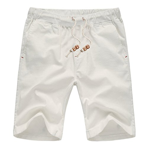AIYINO Mens Summer Casual Shorts Linen Classic Fit Short with Pockets