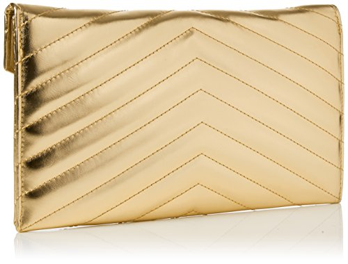 Swanky Swans Damen Marla V Stitch Metallic Clutch Bag, 2.5x17.3x29.2 cm Gold