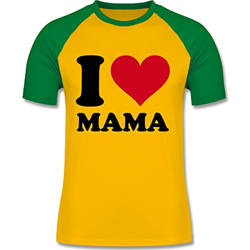 I love - I Love Mama - zweifarbiges Baseballshirt für Männer Gelb/Grün
