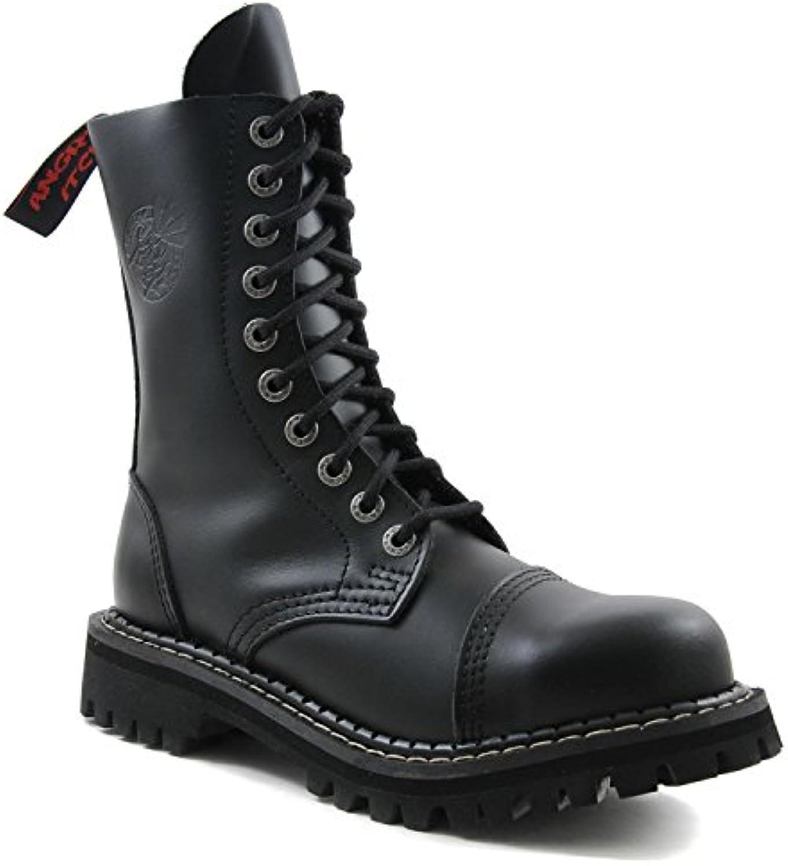 ANGRY ITCH 10 Loch Gothic Punk Army Ranger Armee Leder Schwarz Stiefel mit Stahlkappe   Größen 36 48   Made in