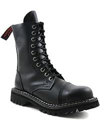 Angry Itch - 10-Loch Gothic Punk Army Ranger Armee Leder Schwarz Stiefel mit Stahlkappe - Größen 36-48 - Made in EU!
