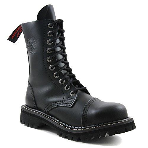 Angry Itch - 10-Loch Gothic Punk Army Ranger Armee Leder Schwarz Stiefel mit Stahlkappe - Größen 36-48 - Made in EU!, EU-Größe:EU-44