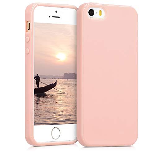 kwmobile Apple iPhone SE / 5 / 5S Cover - Custodia per Apple iPhone SE / 5 / 5S in Silicone TPU - Backcover Protezione Oro Rosa Matt