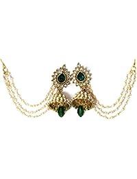 Shree Mauli Creation Green Alloy Green Drop Jhumka With Pearl Ear Chain Earring For Women SMCE93