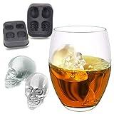 Eleusine 4er 3D Schädel Eiswürfelform Schwarz Silikon Eiswürfelbehälter mit Deckel für Whisky Cocktail Pudding Milch Saft Bier